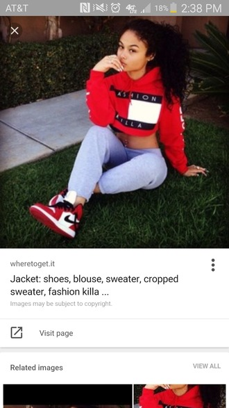 sweater tommy hilfiger jacket red white cropped sweater