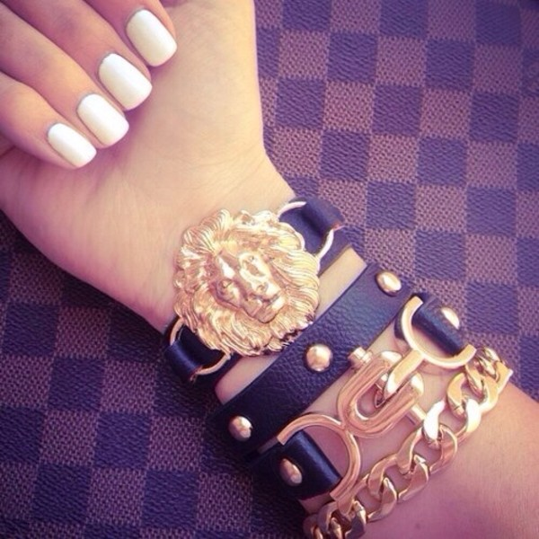 jewels lion bracelets gold studded biker bracelets hot