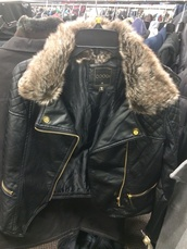 jacket,coogi jacket,outerwear,black leather,gold hardware,faux fur,fur collar,leather bomber jacket