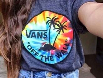 t-shirt shirt tie dye vans off the wall vans off the wall tie dye t-shirt vans t-shirt rainbow grey colorful palm tree print skater girl