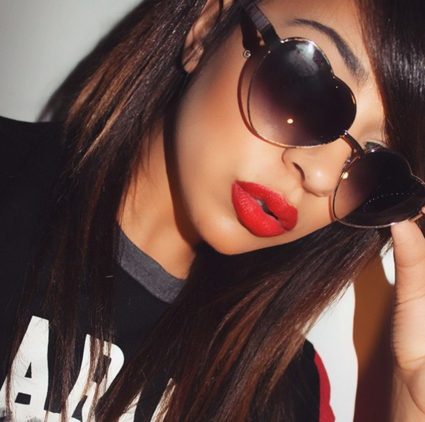 sunglasses red black brown white heart lipstick girly girl