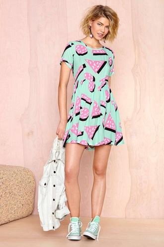 dress green dress retro 90s style 80s style art tumblr grunge aesthetic shapes kawaii