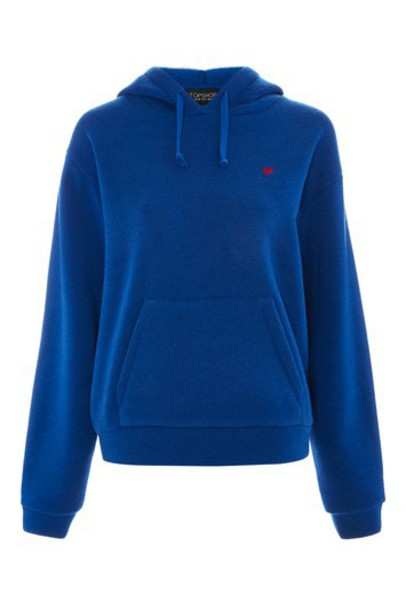 Topshop hoodie heart embroidered blue sweater