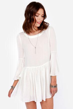 Cute Ivory Dress - Mini Dress - Babydoll Dress - $53.00