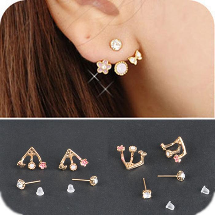 A Pair Fashion Korean Style Rhinestone Lovely Flower Earrings Stud Earrings Hot Ebay