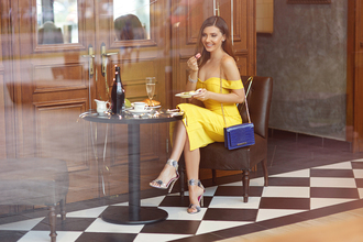 the mysterious girl blogger dress bag shoes yellow dress off the shoulder dress midi dress blue bag high heel sandals sandals