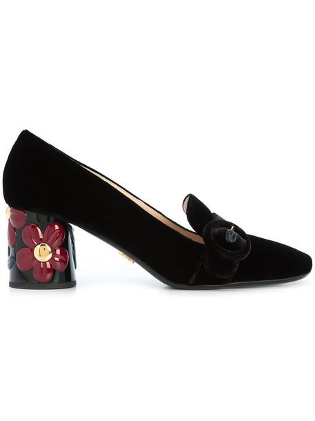 Prada heel women loafers leather black velvet shoes