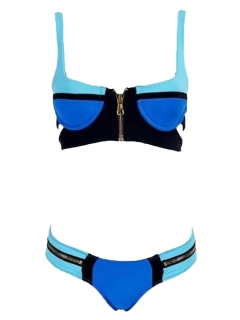 Up padded bra swimwear bikini with zipper detail