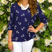 top,nautical,anchors,navy,white,blouse,summer,beach,coastal