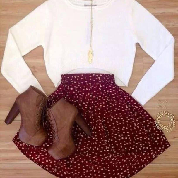 skirt shoes crop tops necklace