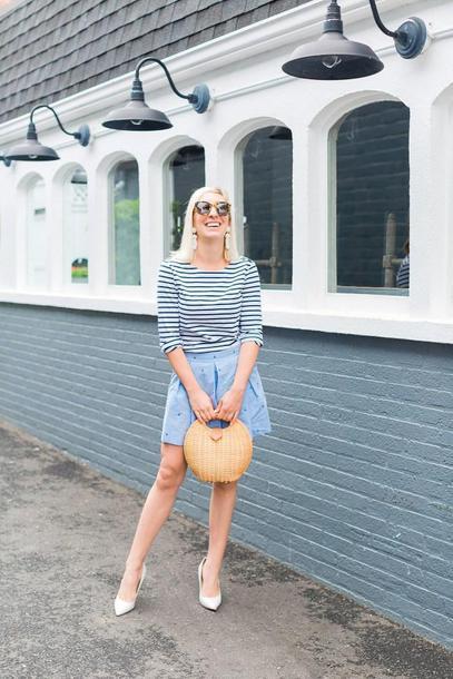 lemon stripes blogger shirt shorts shoes bag jewels sunglasses pumps striped top summer outfits