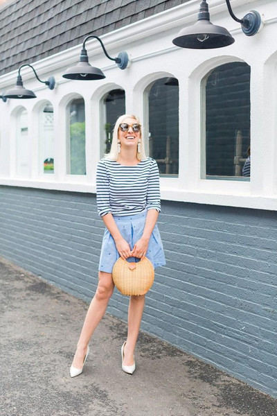lemon stripes blogger shirt shorts shoes bag jewels sunglasses pumps striped top summer outfits