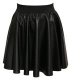 Ella leather look skater skirt in black