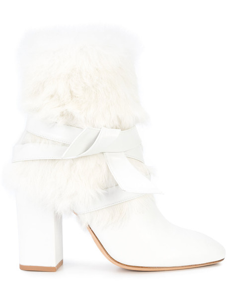 fur women leather white shoes