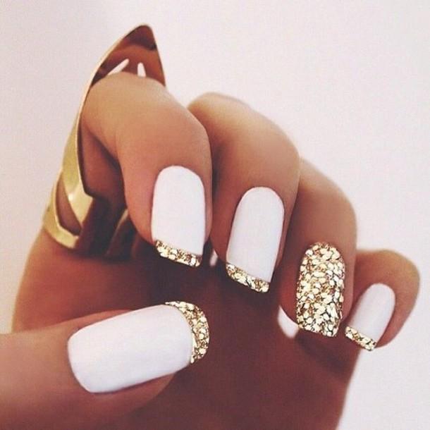 Nail polish: gold nails, white nails, gold tips, sparkly nail ...