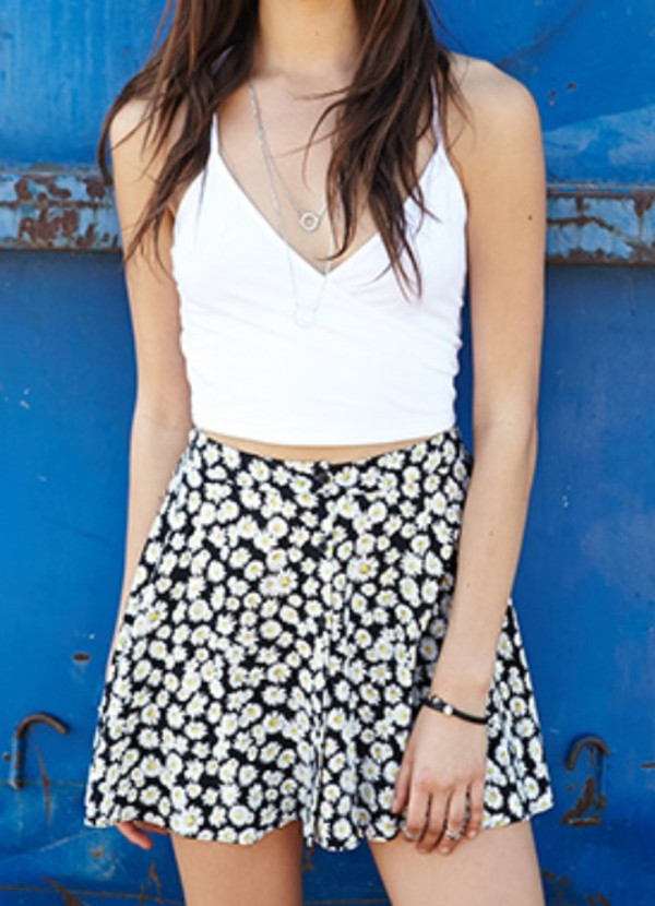 skirt black daisy