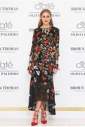 dress,maxi dress,floral,flowers,olivia palermo,pumps,shoes,floral maxi dress