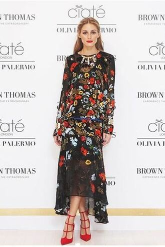 dress maxi dress floral flowers olivia palermo pumps shoes floral maxi dress