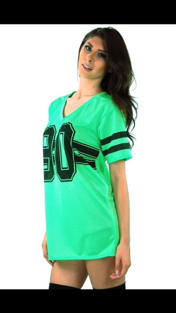 T shirt shirt green number tee pants jeans girl for Bright green t shirt dress
