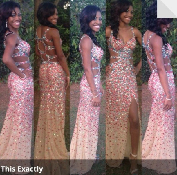 dress, pink, orange, prom, prom dress, prom, cute, bling, cut out ...