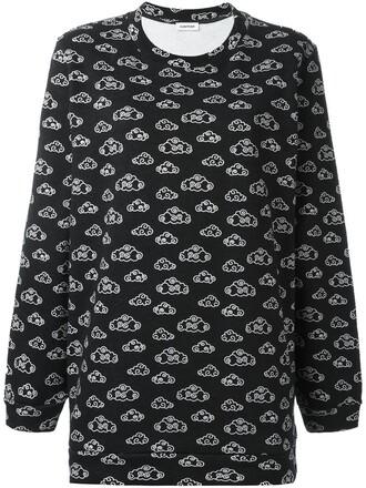 sweatshirt print clouds black sweater