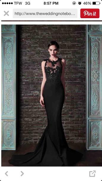 dress black prom dress mermaid