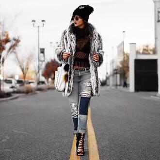 coat tumblr fur coat grey coat top black top black lace top lace top mesh top mesh see through top see through jeans patchwork sandals sandal heels high heel sandals lace up heels bag white beanie white bag