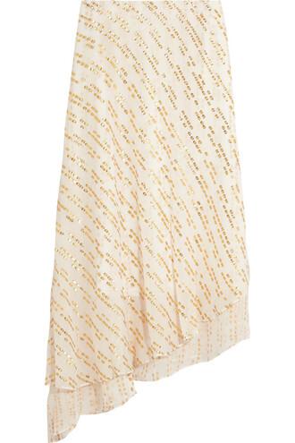 skirt midi skirt metallic midi silk gold white off-white
