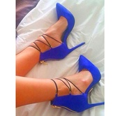 shoes,heels,blue,with straps,pointed toe,this exact color ,royal blue pointed toe heels,blue heels,pointy heels,pointed toe pumps,royal blue,lace up,gold,strappy,strappy heels,jacket,windbreaker,nike jacket