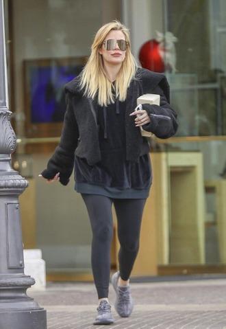 sweater hoodie sneakers khloe kardashian leggings sunglasses streetstyle jacket
