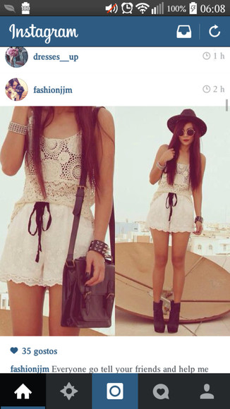 lace shorts lace top shoes sunglasses high heel boots bag