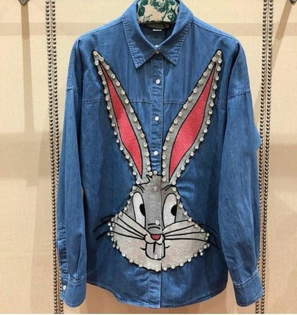 8a9197bf149 Gucci - Blue Bugs Bunny Denim Short for Men - Lyst
