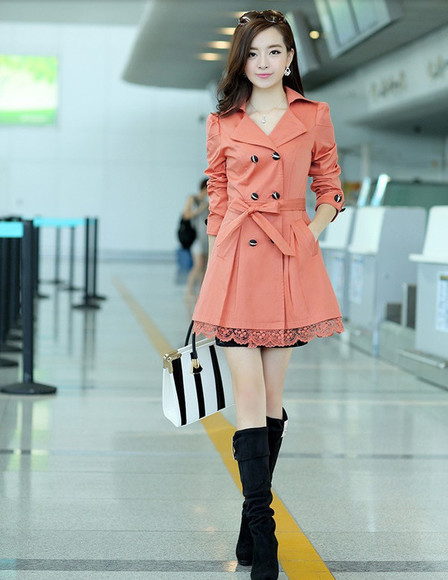 trench coat overcoat korean fashion elegant