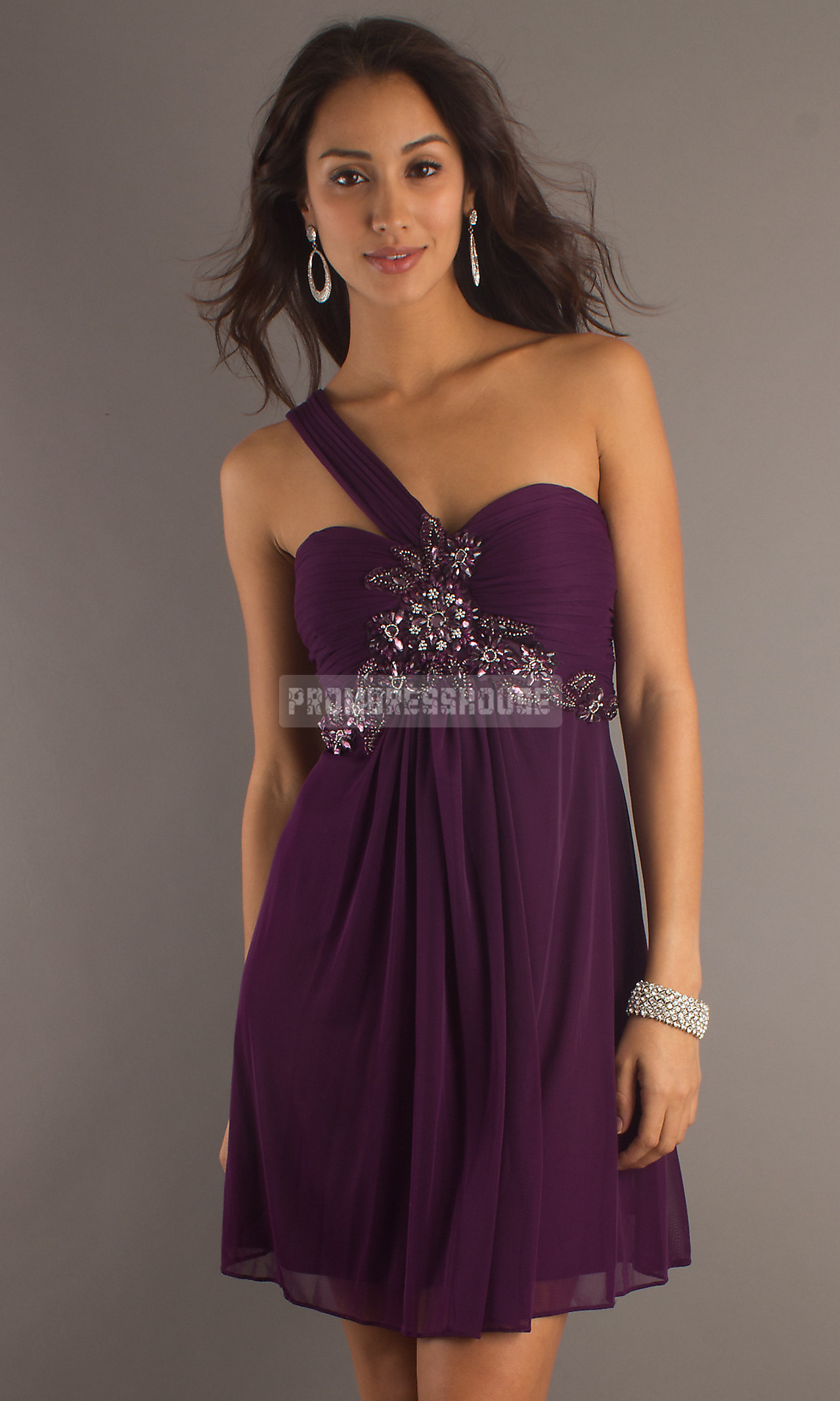 Chiffon One Shoulder Empire A-line Grape Applique Prom Dress - Promdresshouse.com