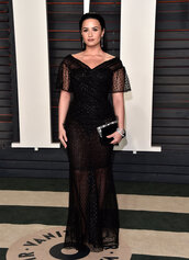 demi lovato,gown,prom dress,black dress,long prom dress,clutch,oscars 2016,lace dress,black lace dress,see through dress,bag,plus size prom dress,curvy,plus size