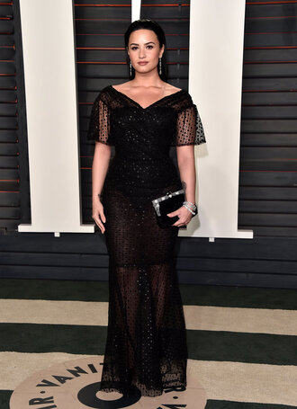 demi lovato gown prom dress black dress long prom dress clutch oscars 2016 lace dress black lace dress see through dress bag plus size prom dress curvy plus size