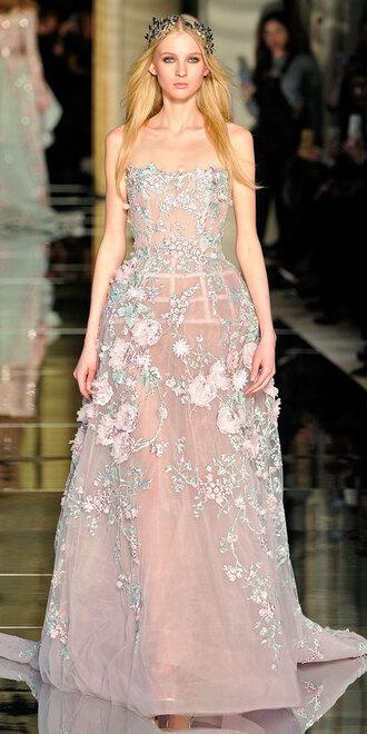 dress gown prom dress wedding dress fashion week 2016 haute couture strapless bustier dress runway