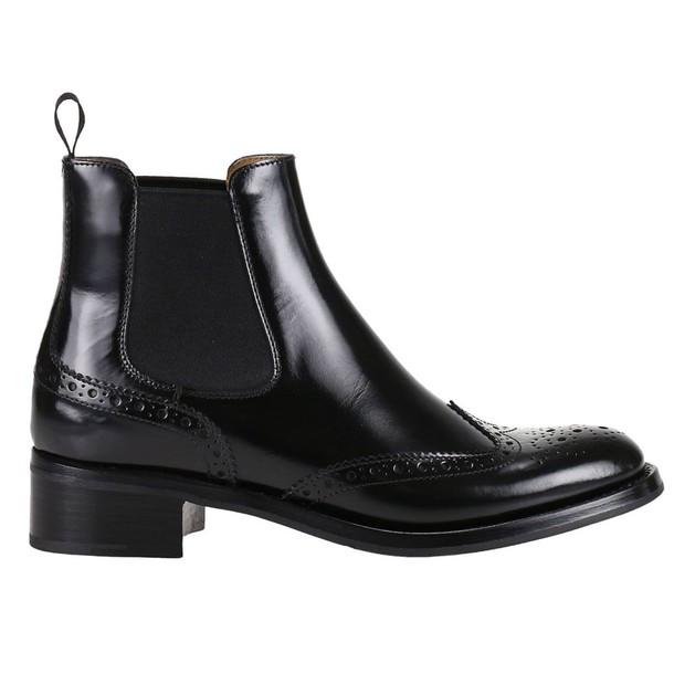 Churchs heel booties pattern black shoes