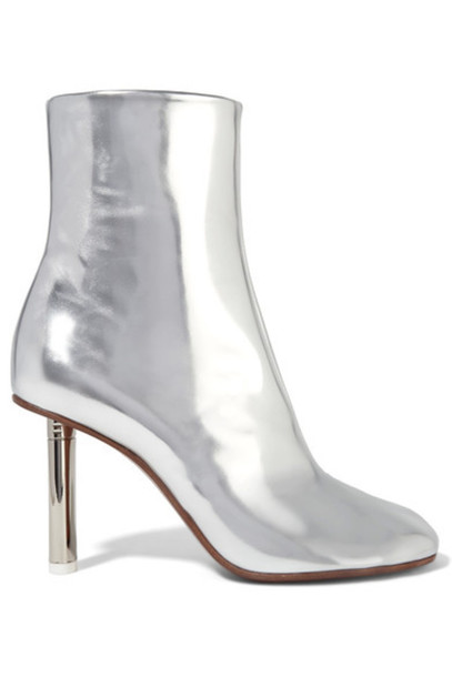 9f5628d9d5d4 Vetements - Metallic Leather Ankle Boots - Silver - Wheretoget