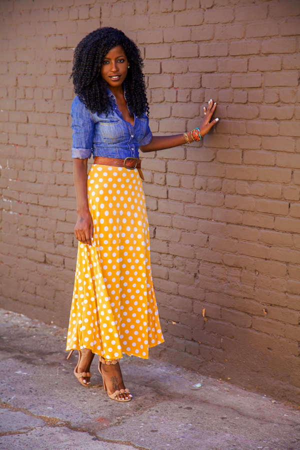 Style Pantry   Fitted Denim Shirt   Dotted Tea Length Skirt