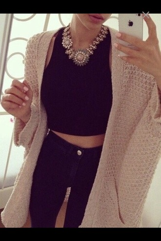 cardigan jeans denim brown tank top black tank top black jewels necklace goldnecklace oversized cardigan outfit top