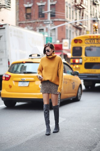 we wore what blogger mustard leopard print knee high boots charcoal winter outfits mustard sweater