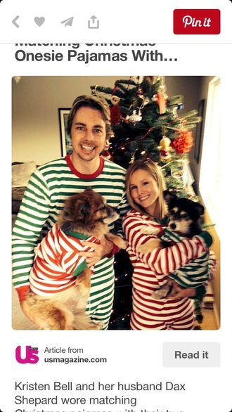 pajamas couple kristen bell christmas stripes cute comfy holiday season
