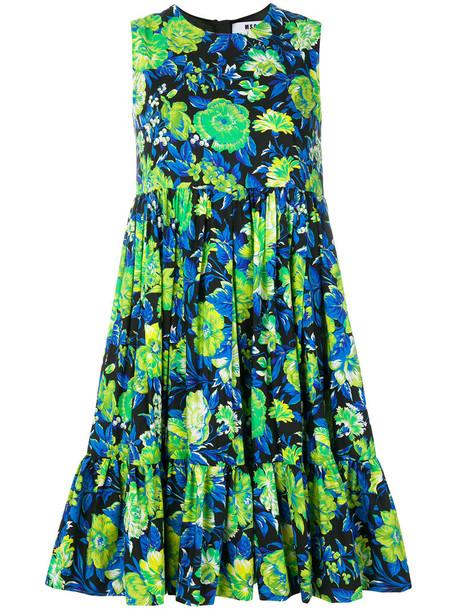 MSGM dress women floral cotton black
