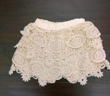 crochet shorts, girls, little girls, kids, babies, beige, cream, ivory, off white, lace, summer, spring, vintage, shabby chic