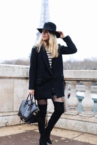 caroline louis pardonmyobsession blogger sweater shoes bag hat tights black coat felt hat handbag boots thigh high boots
