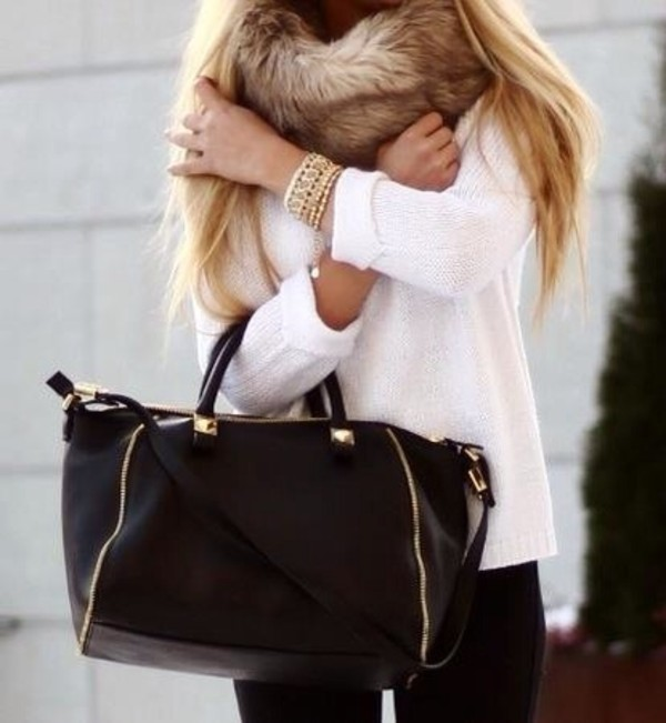 bag black bag studded bag winter sweater winter outfits sweater scarf faux fur fur scarf