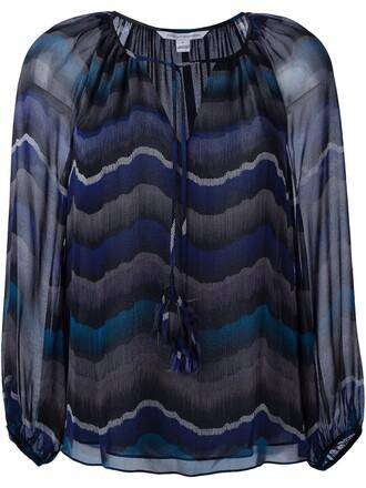 blouse tassel blue top