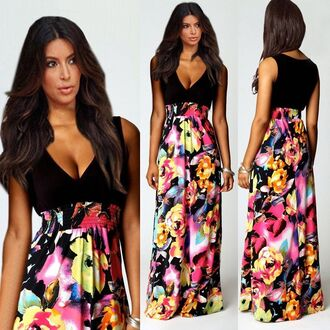 v neck dress boho long evening dress floral