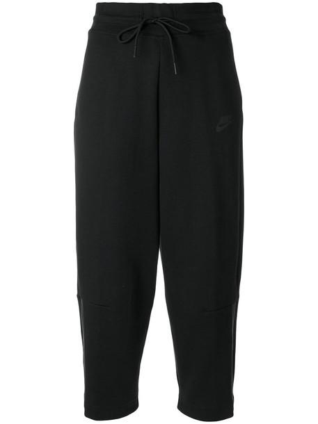 Nike pants track pants cropped women cotton black